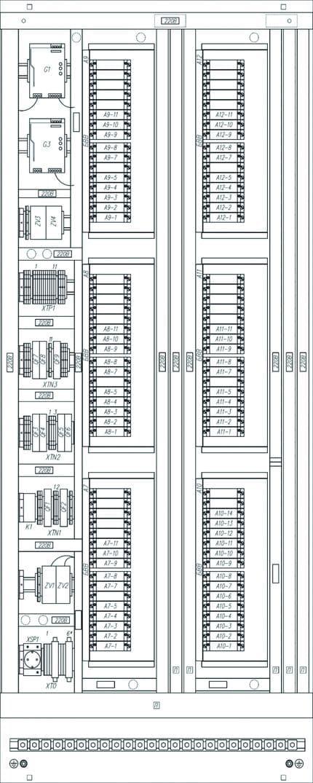Компоновка лицевой и тыльной сторон типового шкафа УСО на базе контроллера МКСО (2000×800×600 мм, двухстороннего обслуживания)