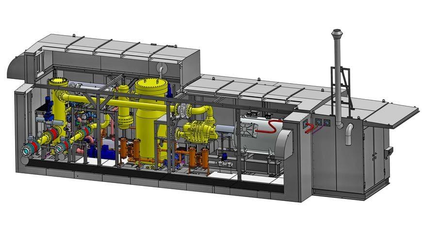 Модель газодожимной установки в индивидуальном укрытии арктического типа для ГТУ-ТЭЦ Усинского месторождения