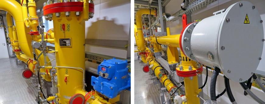 Коалесцирующий фильтр-сепаратор (слева) и электрический подогреватель газа