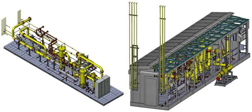 3D-модель газоприемной станции «ЭНЕРГАЗ» для ГТЭС-150 МВт на Лукомльской ГРЭС