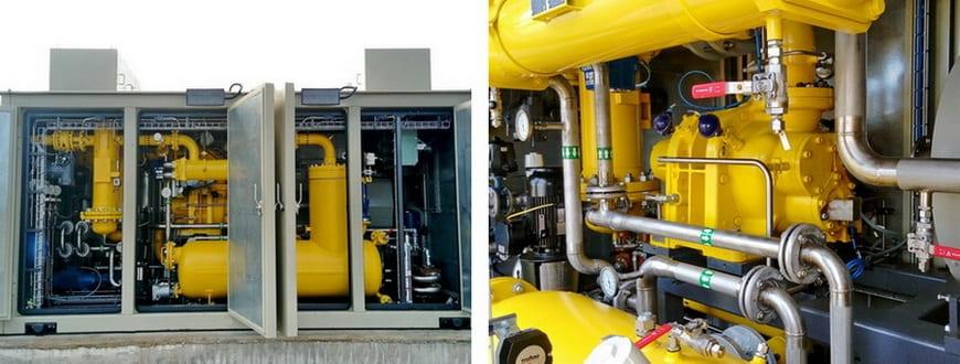 Технологические отсеки дожимной компрессорной установки топливного газа «ЭНЕРГАЗ»