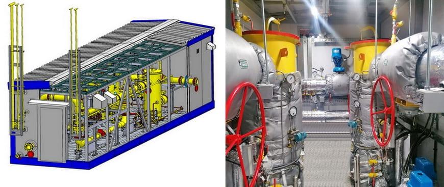 3D-модель и технологический отсек блочного пункта подготовки газа