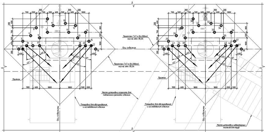 Схема расположения одиночных термостабилизаторов на кустовой площадке