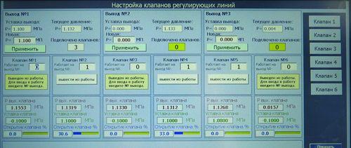Панель оператора: настройка регулирующих линий