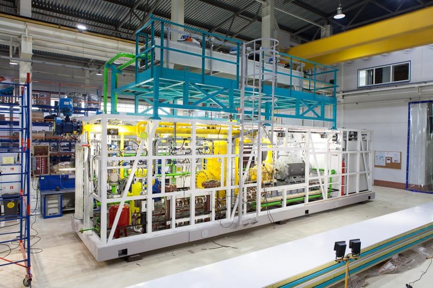 Дожимная компрессорная станция ГЕА в процессе изготовления, производственная площадка, г. Климовск
