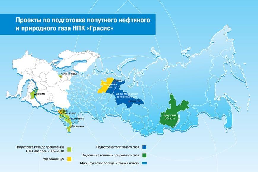 Проекты по подготовке попутного нефтяного и природного газа НПК Грасис