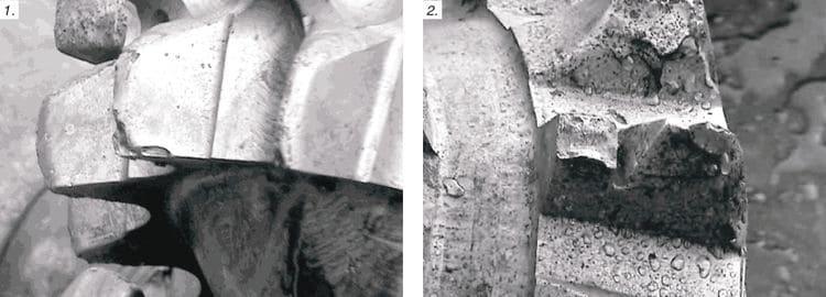 Стадии износа зубчатого вооружения бурового инструмента