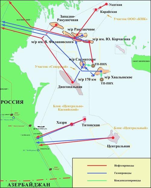 Схема обустройства месторождений и структур на севере Каспийского моря