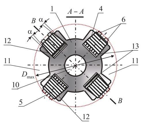 Поперечное сечение А-А в положении разжатой пружины