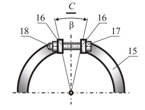 Схема положения регулирующего кольца со сжимающим винтом