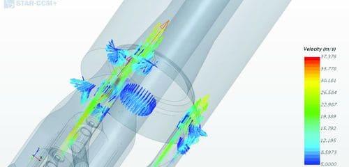 Векторы скоростей потоков буровой жидкости на выходе из эжекционных камер системы с эффектом вакуумирования