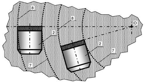 Схема установки резцов PDC с положением поверхностей режущих пластин в вертикальных плоскостях, проходящих через центры на их плоскостях и ось долота