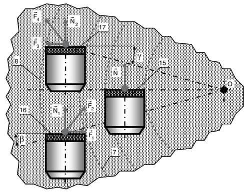 Рис. 5. Варианты расположения без дополнительного разворота и с дополнительными разворотами по часовой или против часовой стрелки плоскостей режущих пластин относительно линии проекции на забой линии, проходящей через центр на диаметре поверхности пластины и ось долота