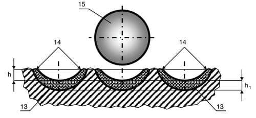 Схема варианта положения поверхности пластины, расположенной в вертикальной плоскости, проходящей через центр и диаметр поверхности пластины и ось долота, форма и глубина следов внедрения пластины в породу на сечении забоя, а также схема условной формы эпюры нагружения породы под режущей кромкой этой пластины, получающиеся в породе, на условных соседних, по радиусу долота кольцевых лунках