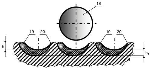 Схема варианта положения режущей пластины с дополнительным ориентированием относительно проекции на поверхность забоя проходящей через центр на плоскости пластины и ось долота, поворотом ее центрального диаметра под острым углом по часовой стрелке