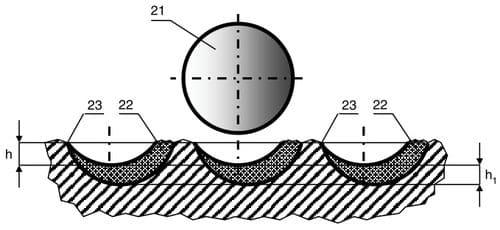 Схема варианта положения режущей пластины с дополнительным ориентированием относительно проекции на поверхность забоя линии, проходящей через центр на плоскости пластины и ось долота, поворотом ее центрального диаметра под острым углом против часовой стрелки