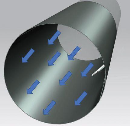 Общий вид газохода с сигнализатором уровня пыли