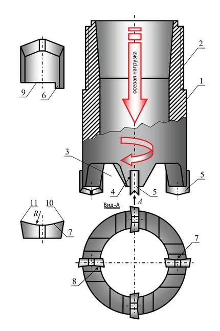 Принципиальная схема бурового породоразрушающего инструмента