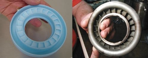 Слева: восковая модель, выращенная методом 3D-печати. Справа: готовое изделие