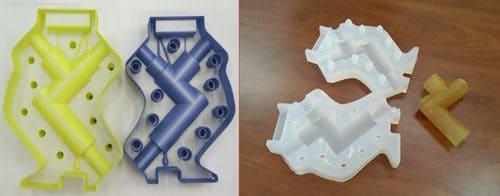 Слева: мастер-форма из двух частей, напечатанная на 3D-принтере. Справа: извлечение готовой детали из силиконовой формы