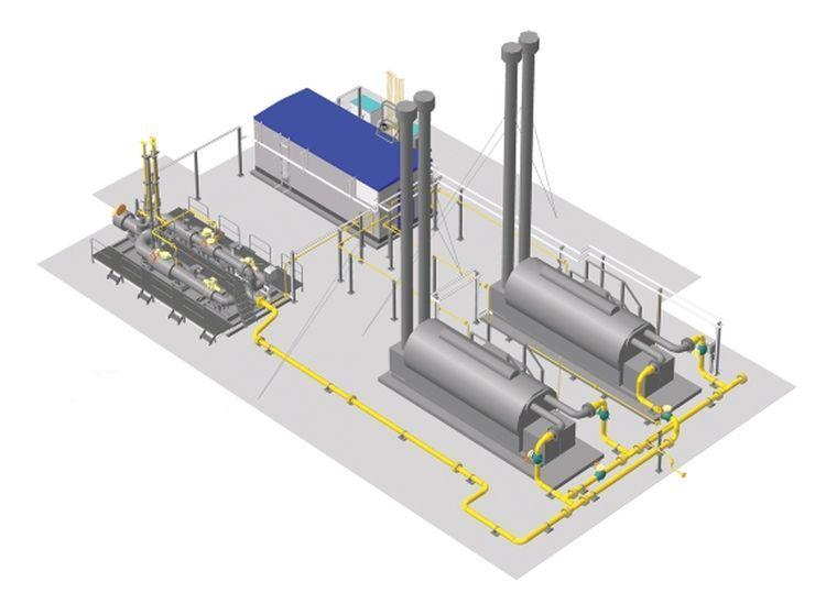 Внешний вид УПРГ на КС «Русская» (3D-модель). УПРГ размещается на площадке размером 18х30 м