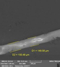 Фото стенки мембранного волокна (толщина стенки порядка 7 мкм)