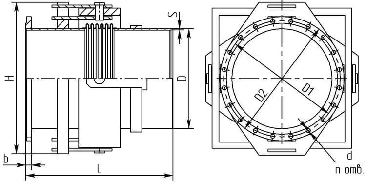 Карданный компенсатор (WK-RF-2) с присоединением к трубопроводу патрубок-фланец, производимый Корпорацией «Сплав» для АК «Транснефть»