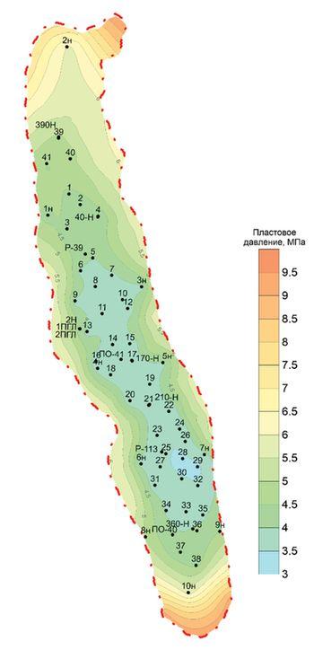Карта пластового давление по сеноманской залежи по состоянию на 01.01.2021 [3]
