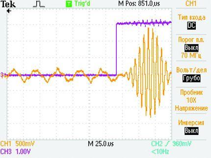 Осциллограмма информационного сигнала до введения фильтра В