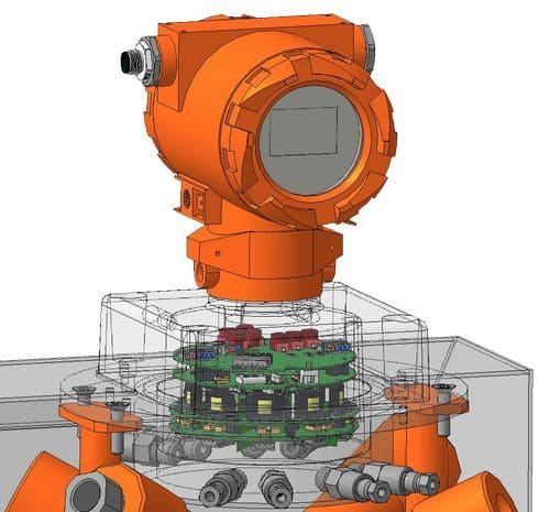 Модель расположения плат в ультразвуковом расходомере Turbo Flow UFG