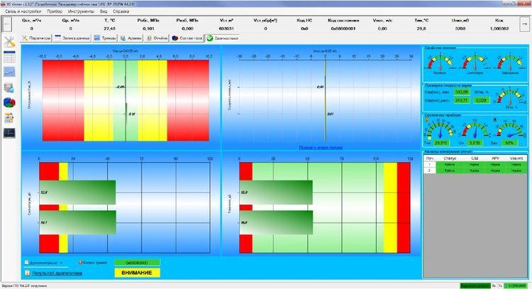 Экранная форма диагностики программы «UFG View»