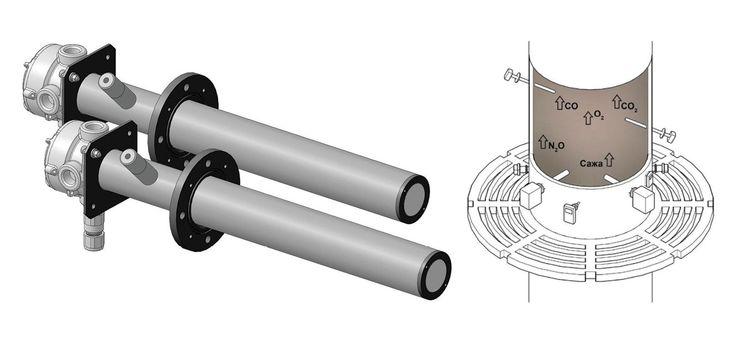 Рис. 3. УЗ расходомер дымовых газов в двухблочном исполнении