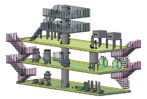Изометрический вид компоновки оборудования технологического блока ГПМ с разгонкой дистиллятов