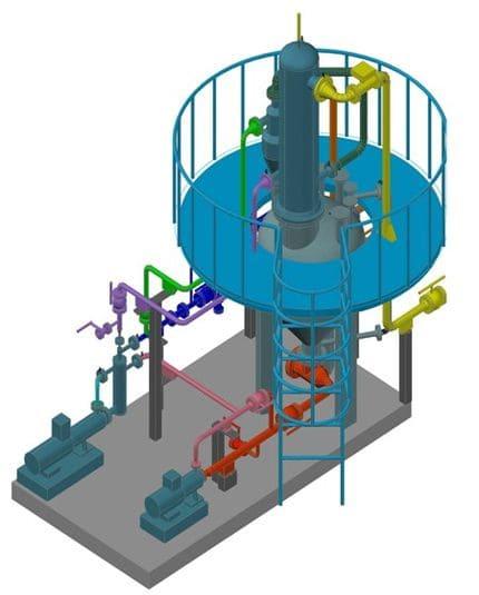 Модуль термокавитационной конверсии газоконденсатного мазута в составе: кавитационные насосы, реактор термолиза, сепаратор паров, каплеотбойник. Печь термолиза монтируется на отдельном модуле