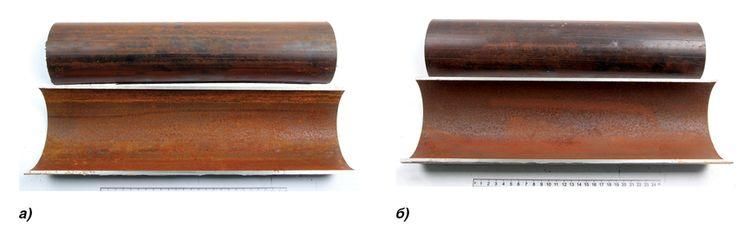 Внутренняя поверхность после испытаний а) верхняя образующая б) нижняя образующая