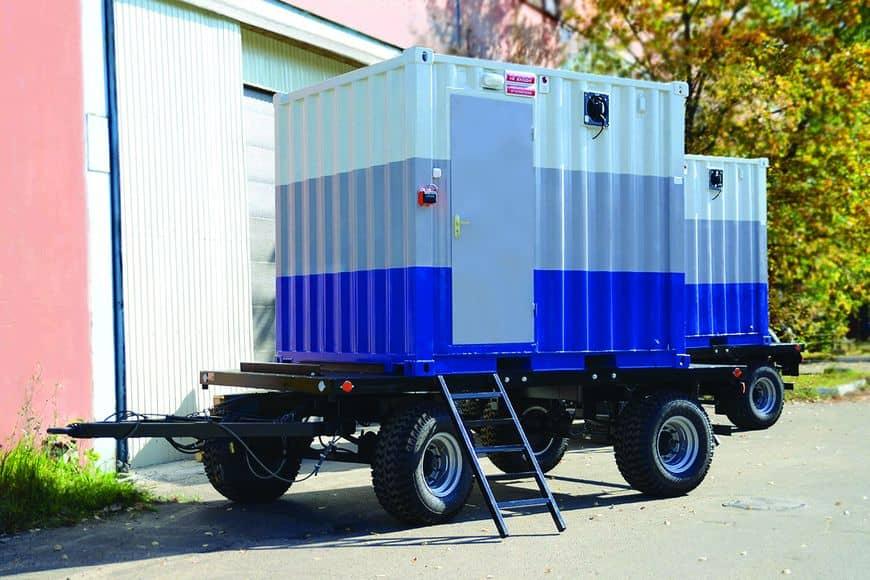 Блок-контейнеры серии УБК производства ГК ТСС на двухосных прицепах