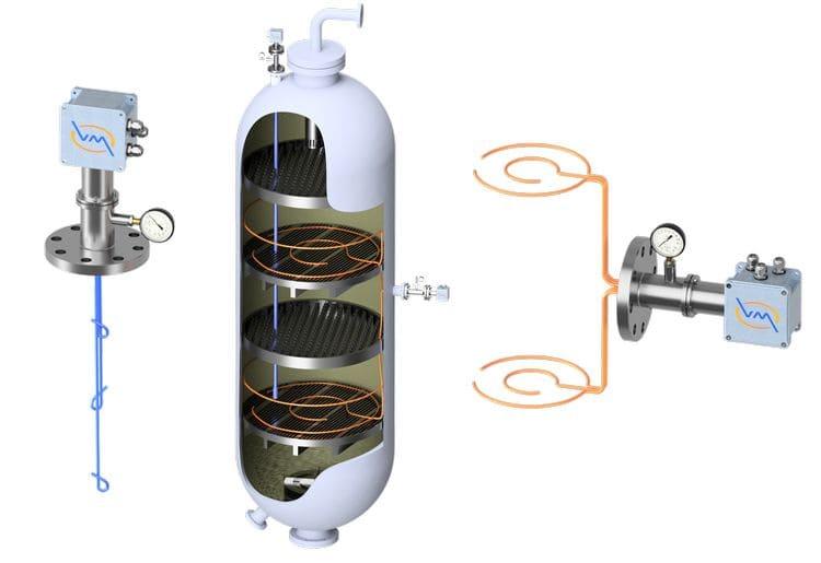 Общий вид многозонных термоизмерительных датчиков температуры производства НПО «Вакууммаш», установленных в реакторе